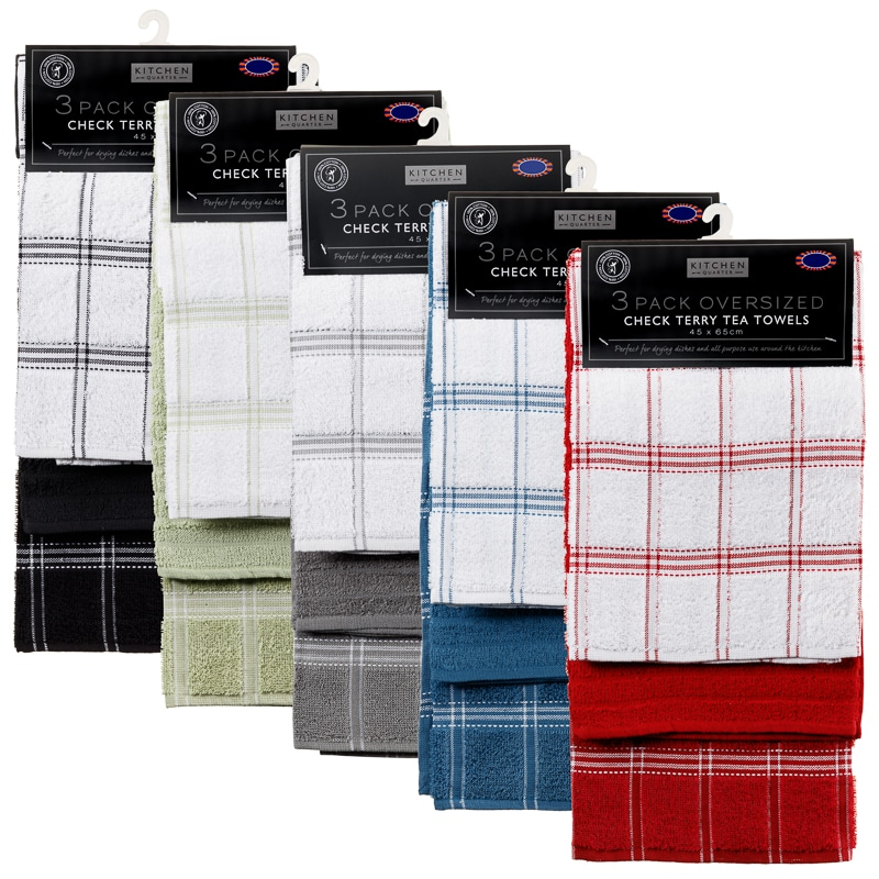 Attirant 323017 3 Pack Oversized Check Terry Tea Towels