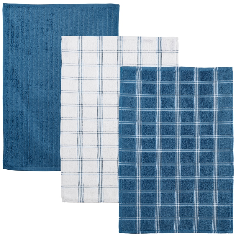 Charming 323017 3 Pack Oversized Check Terry Tea Towels