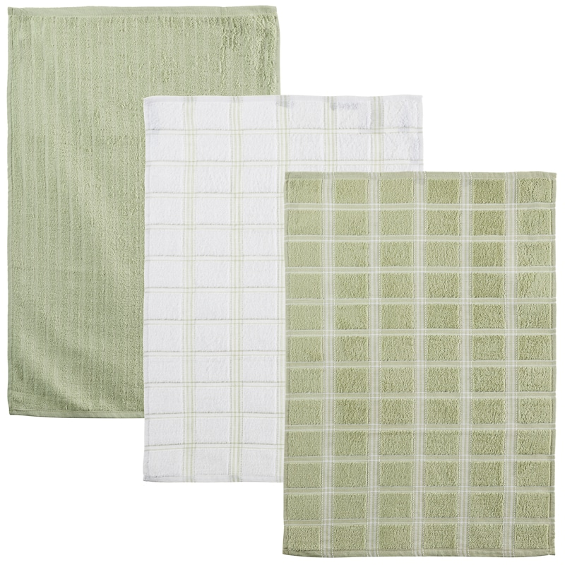 Oversized Check Terry Tea Towels 3Pk - Green | Kitchen - B&M