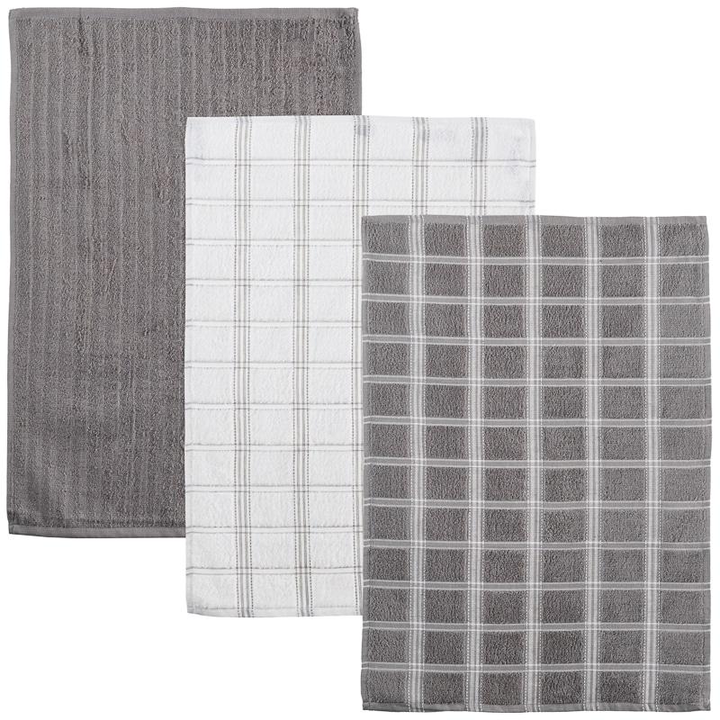 oversized check terry tea towels 3pk - grey | kitchen - b&m
