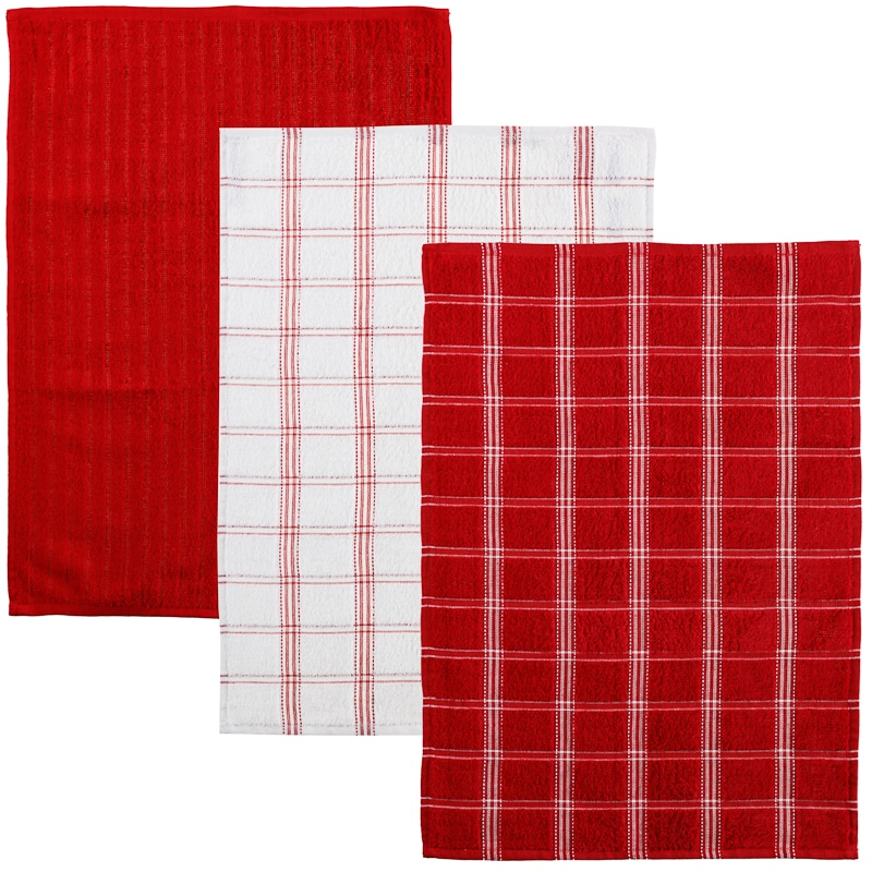oversized check terry tea towels 3pk red kitchen b m