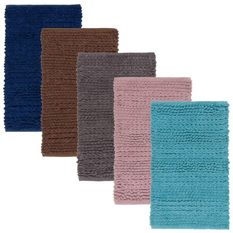 Super Soft Knitted Chenille Bath Mat Navy Home