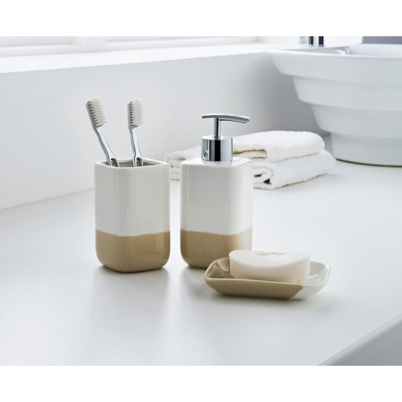 Dipped coloured bathroom set 3pc home bathroom b m for Beige bathroom set
