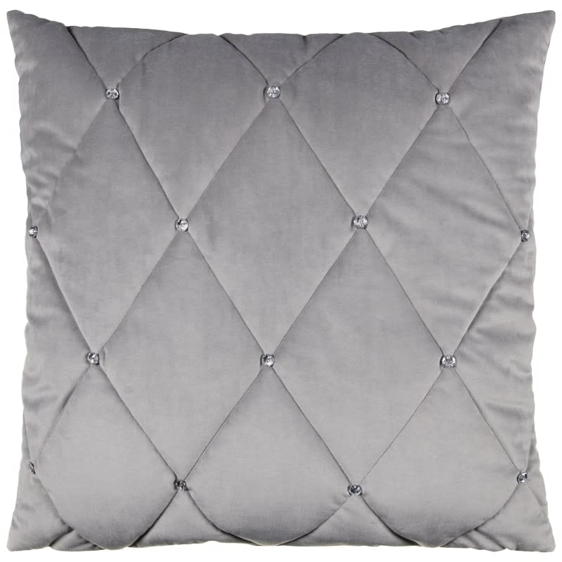 Frances Oversized Diamante Quilted Cushion   Silver. Cheap Cushions   Striped  Plain and Other Designs at B M stores