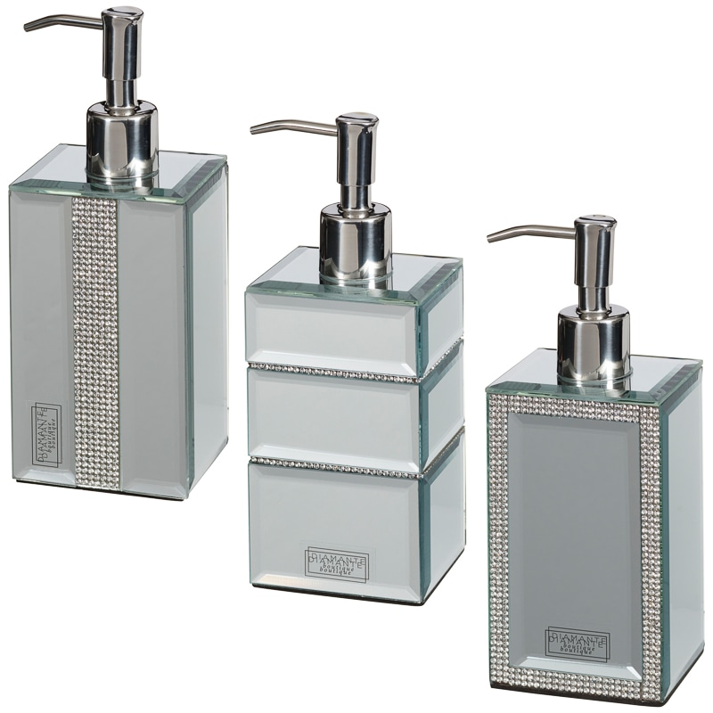 Mirrored diamante soap dispenser home bathroom b m for Bathroom accessories silver