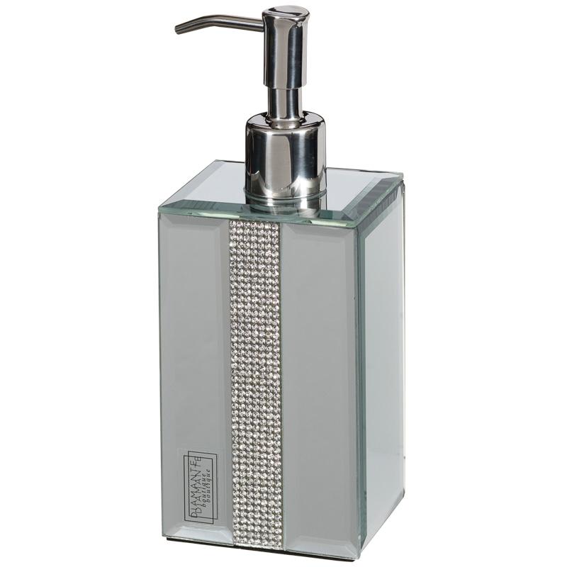 Mirrored Diamante Soap Dispenser Home Bathroom B Amp M