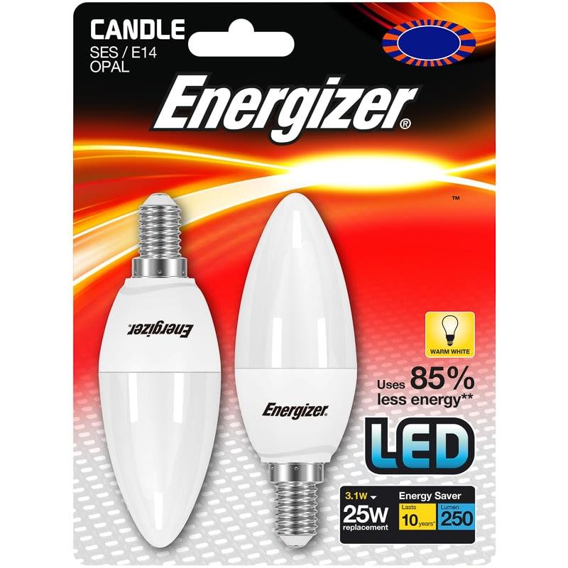 Energizer Led 25w E14 Candle Bulb 2pk Lighting B Amp M