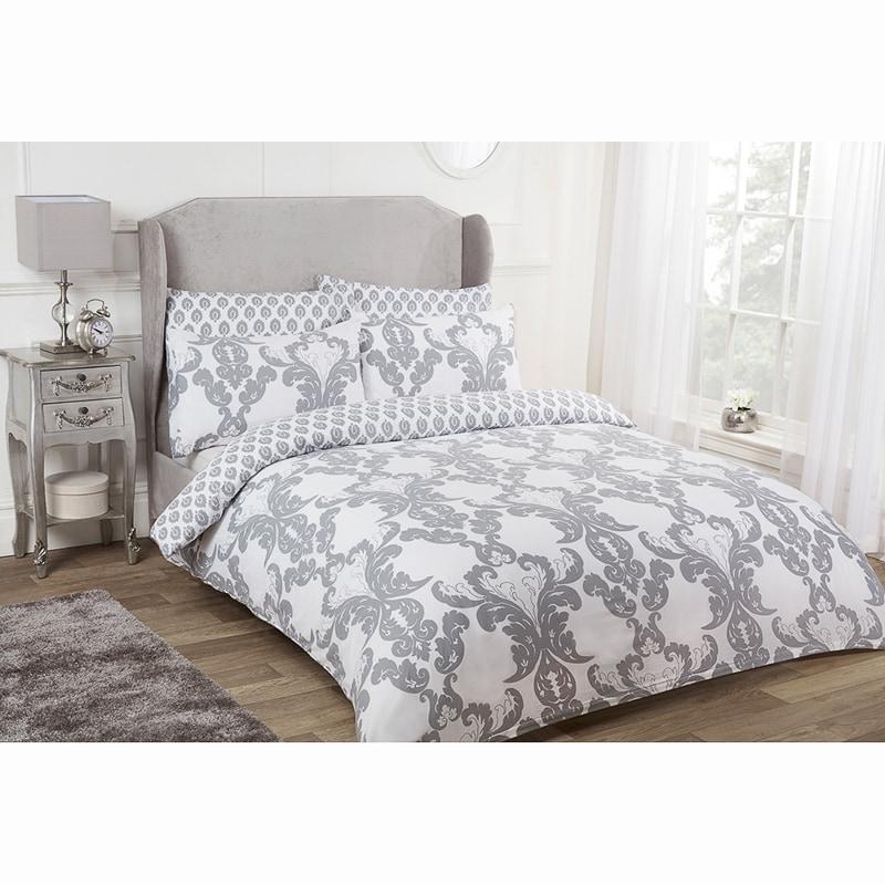 Damask Double Duvet Set Twin Pack Grey Bedding B Amp M