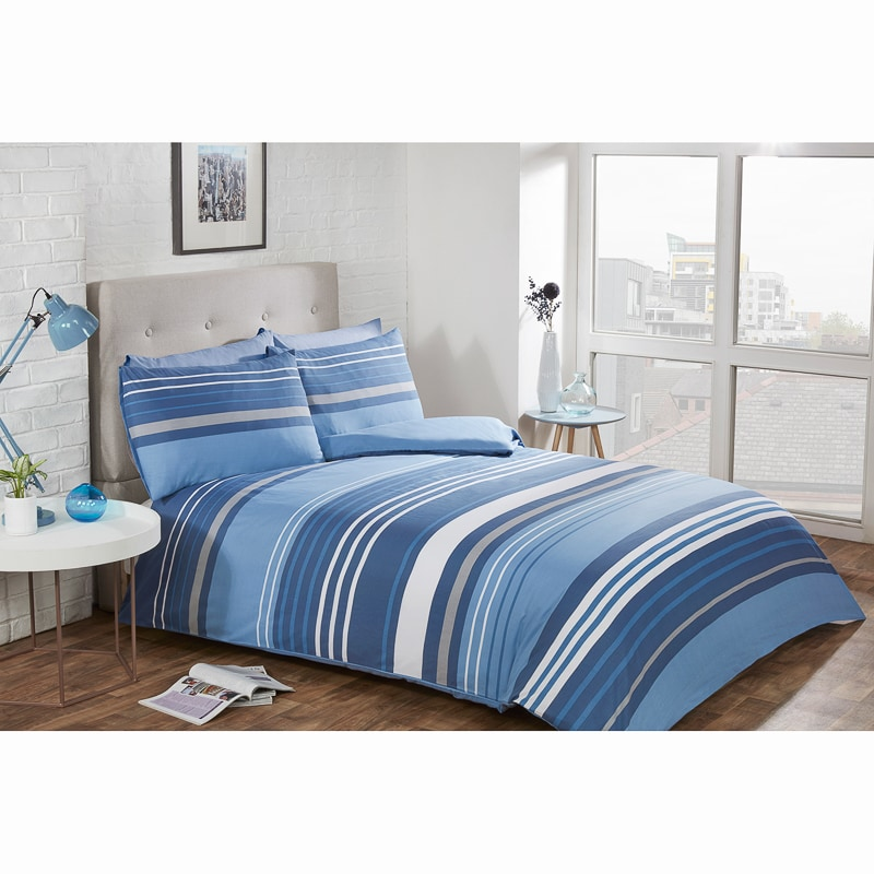 Striped King Duvet Twin Pack - Blue