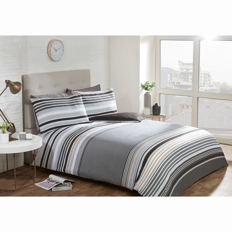 Striped Double Duvet Twin Pack - Mono
