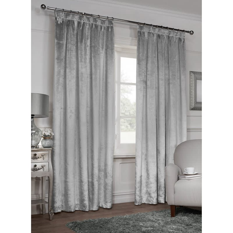 eyelet white velvet crushed curtains