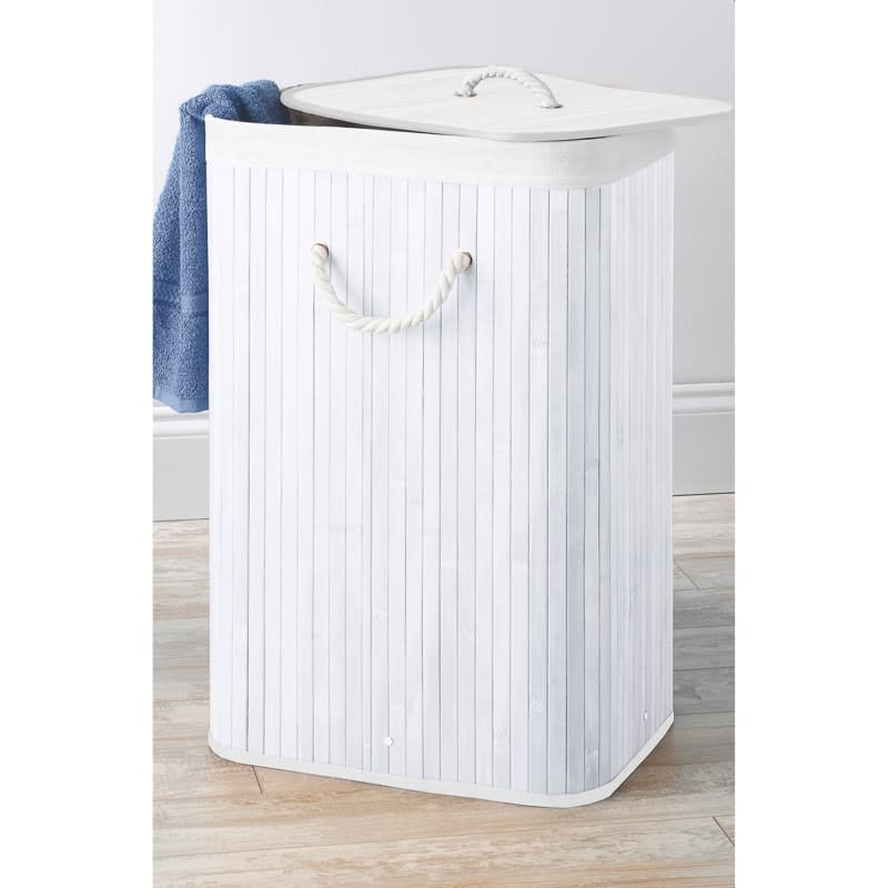 Bamboo Laundry Hamper - White