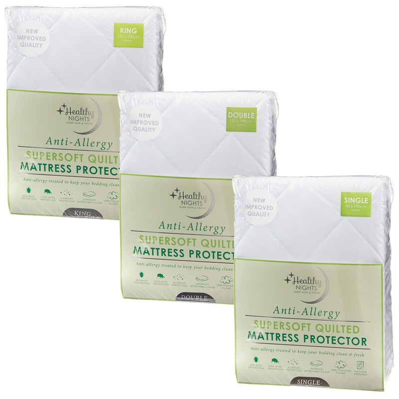 Anti Allergy Supersoft Quilted Mattress Protector Single B Amp M