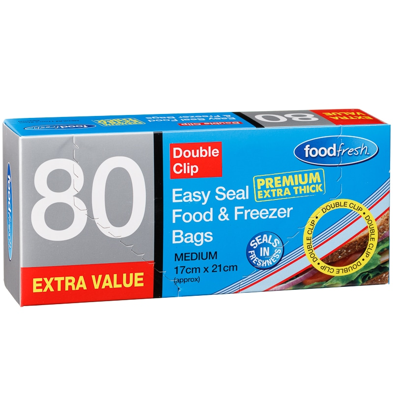 Double Clip Easy Seal Food & Freezer Bags 80pk