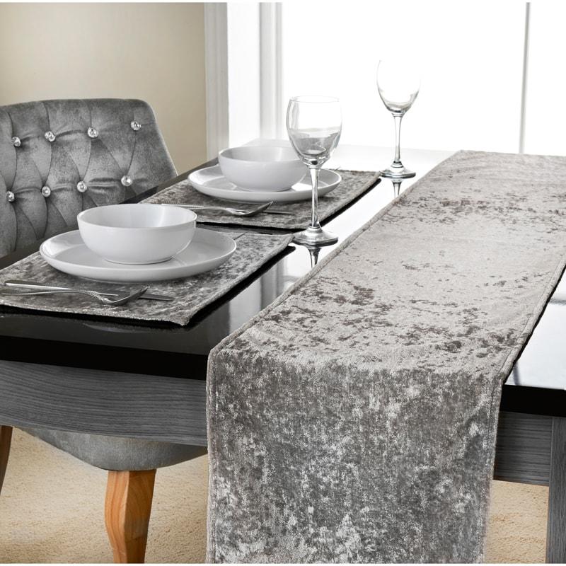 Crushed Velvet Table Runner 33 X 235cm Tableware Dinner