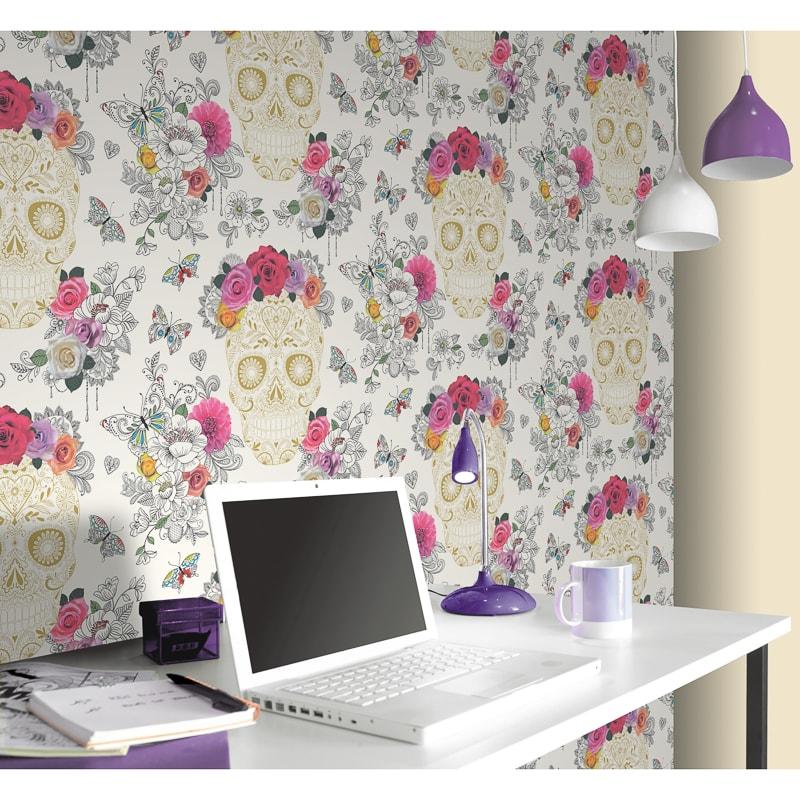 Rasch sugar skulls wallpaper decorating b m stores for Cheap wallpaper shops