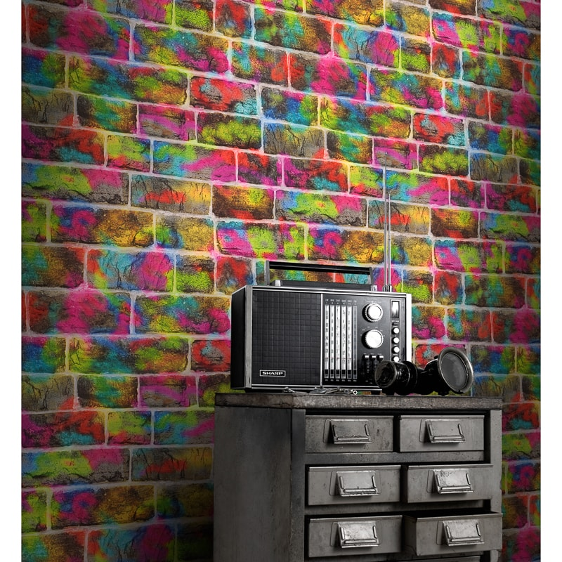 Rasch Graffiti Brick Wallpaper Decorating B Amp M Stores
