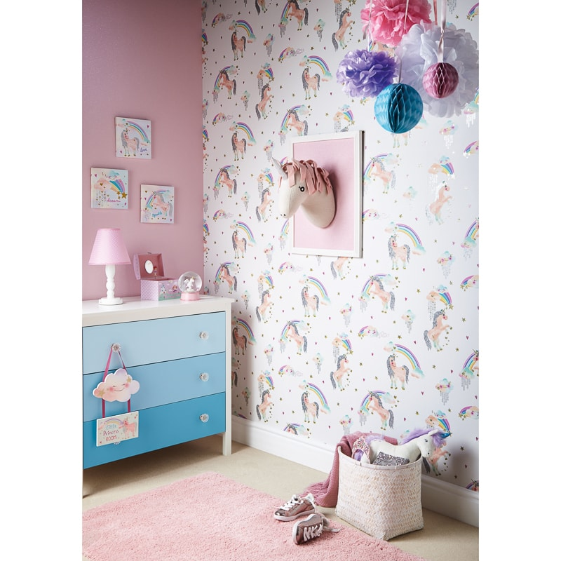 Rainbow Kitchen Decor: Arthouse Rainbow Unicorn Wallpaper - White