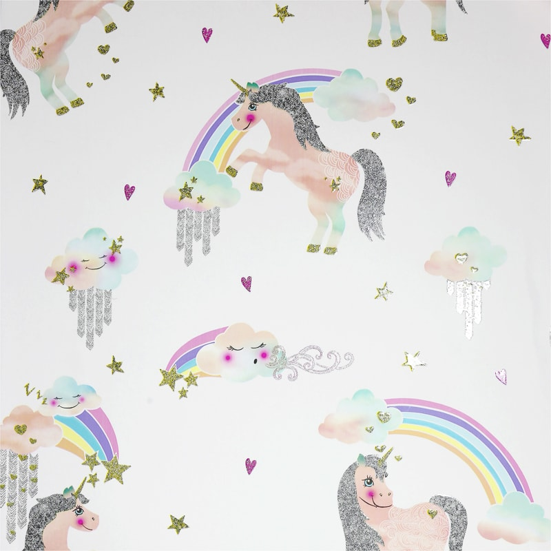 Arthouse Rainbow Unicorn Wallpaper White Decorating B Amp M