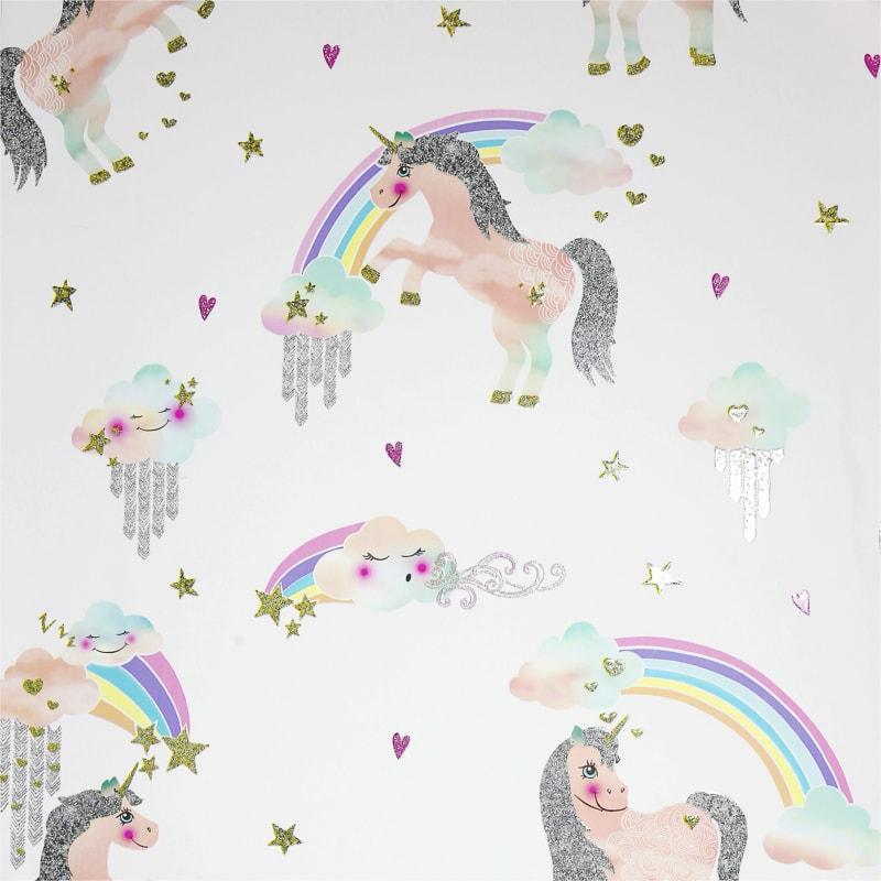 Arthouse Rainbow Unicorn Wallpaper White Decorating B Amp M