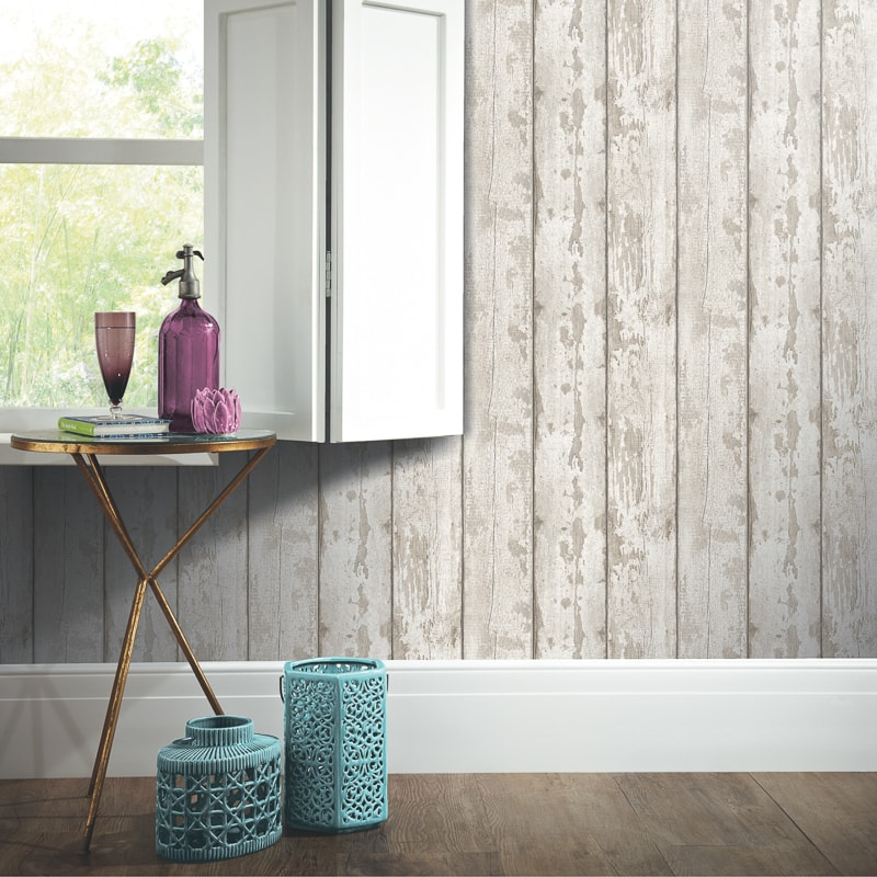 Arthouse White Washed Wood Wallpaper Decorating Diy B Amp M