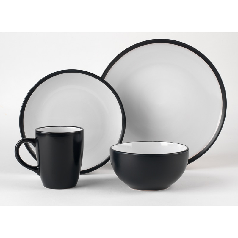 Russell Hobbs Black Two Tone Dinner Set 16pc Dining B Amp M