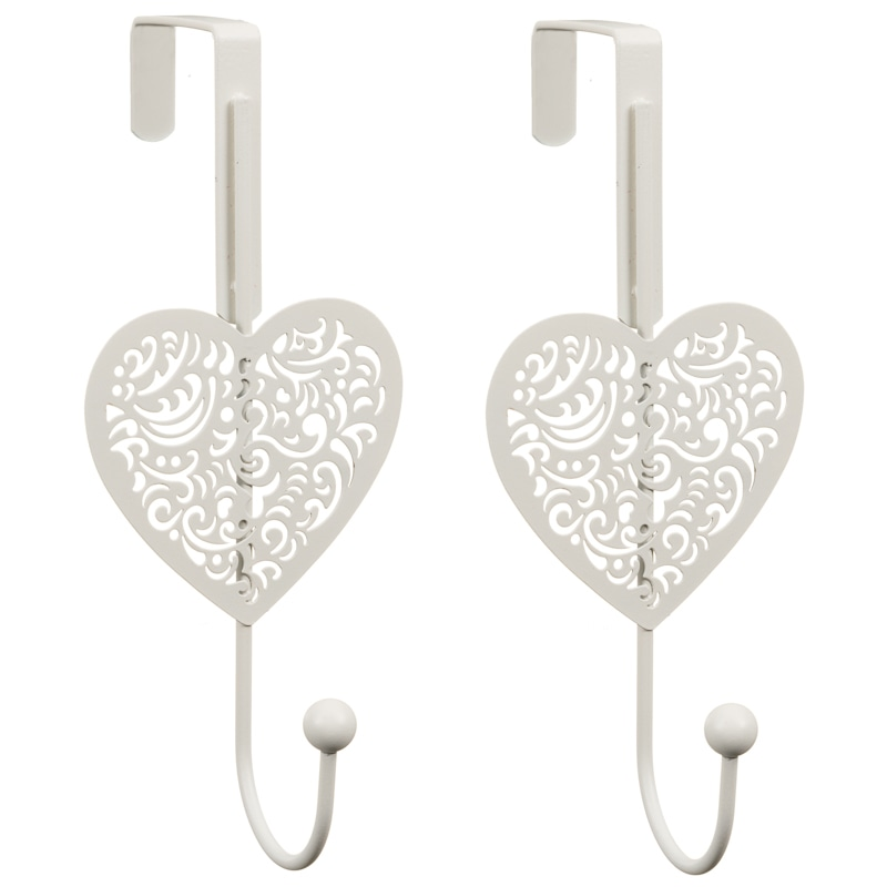 324993 Heart Overdoor Hook 2PK White 3