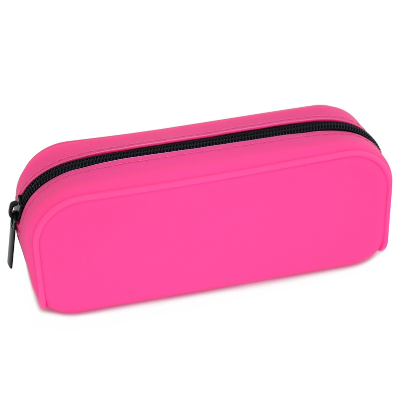 324998 Pencil Case Pink Silicone With Black Zip