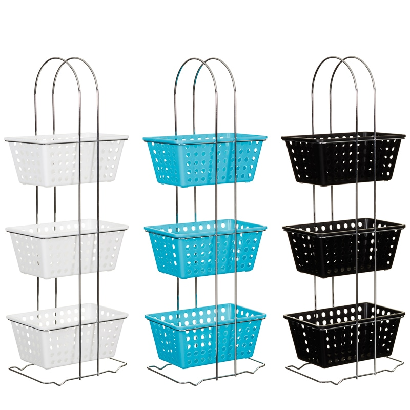 329923 3 Tier Rectangle Storage Basket Turquoise Main
