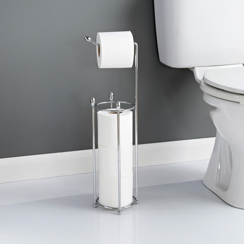 Toilet roll caddy bathroom toilet roll holder b m for Bathroom accessories toilet roll holder