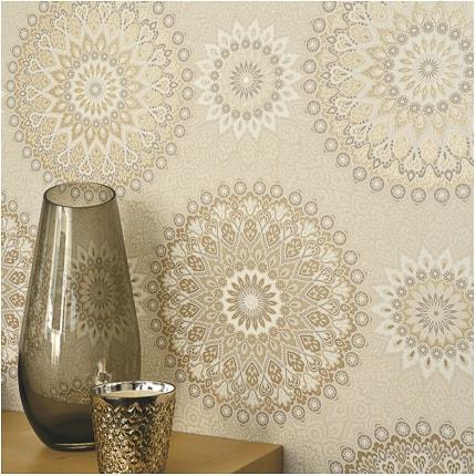 Holden d cor madeleine wallpaper beige gold decorating for Madeleine decoration