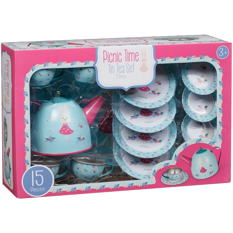 Picnic Time Kids Tin Tea Set 15pc Role Play Toys B Amp M