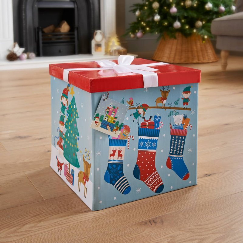XL Christmas Gift Box With Bow & Tag - Stockings