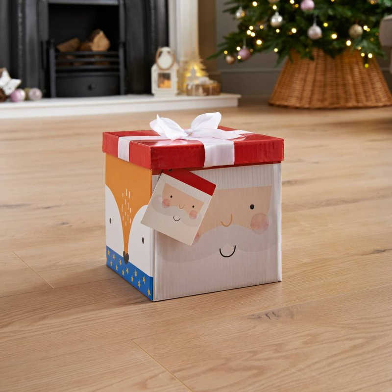 Medium Christmas Gift Box with Bow & Tag - Santa - B&M