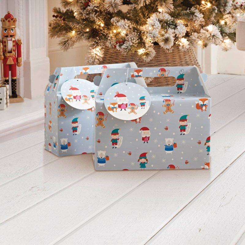 Christmas Boxes.Foldable Christmas Gift Box 2pk Elves