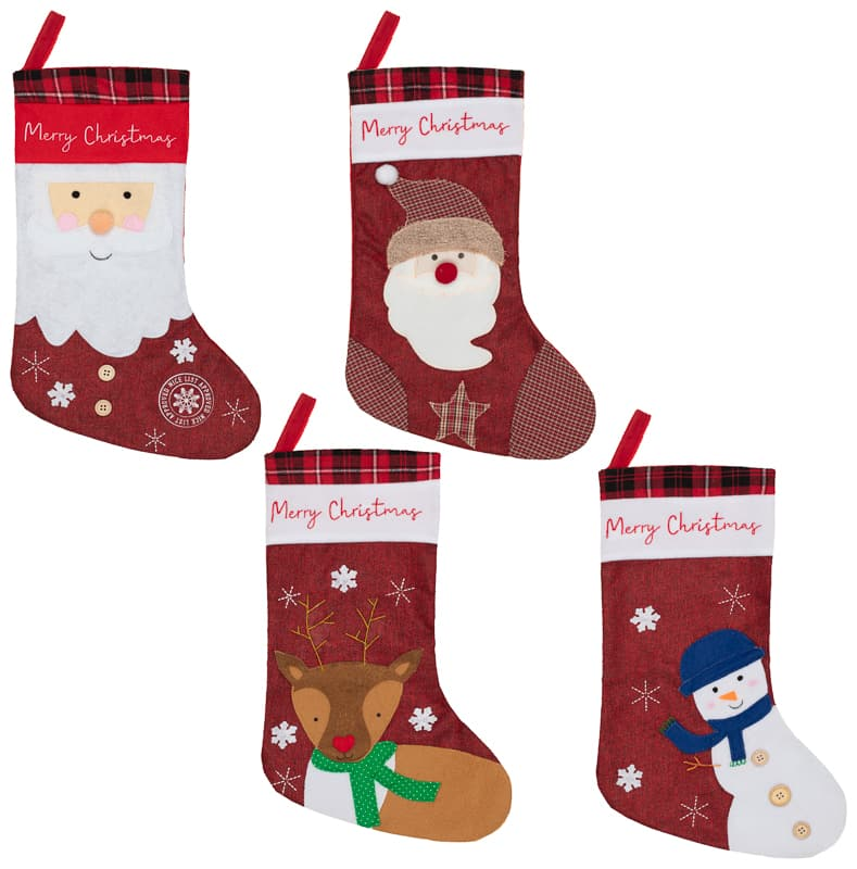Rustic Christmas Character Stocking - Santa