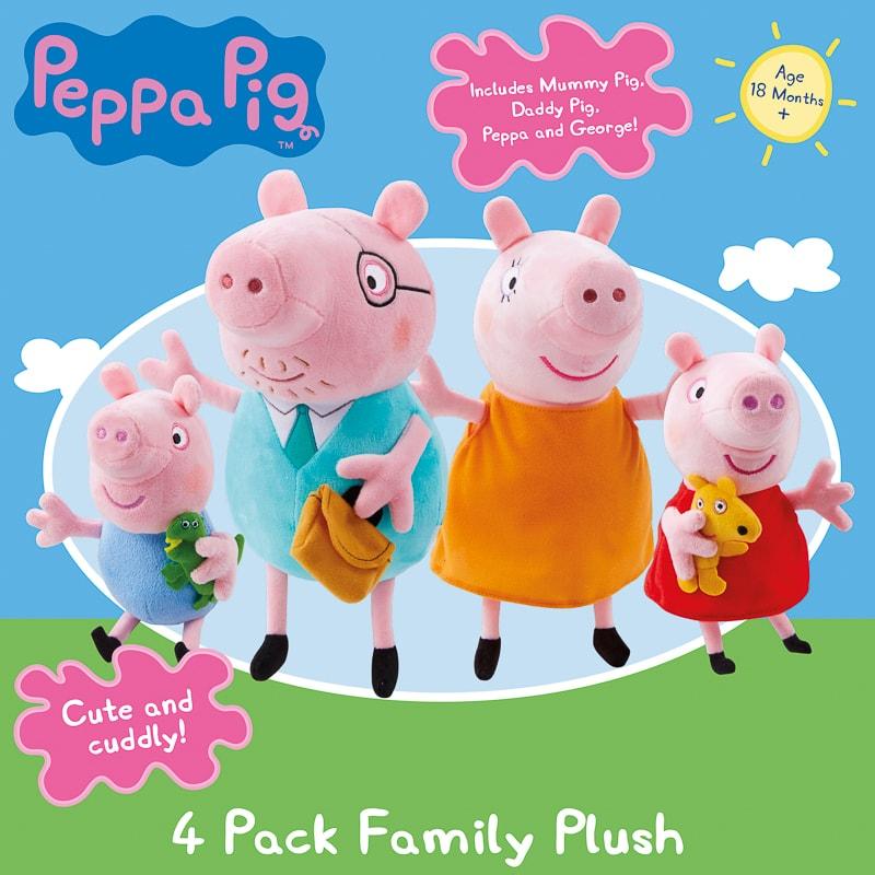 Peppa Pig Plush Family 4pk Plush Animal Toys B M