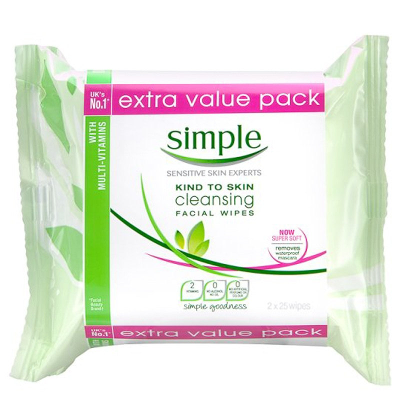 Simple Face Wipes 2 x 25pk