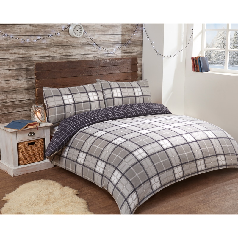 check brushed cotton duvet set single bedding b m. Black Bedroom Furniture Sets. Home Design Ideas