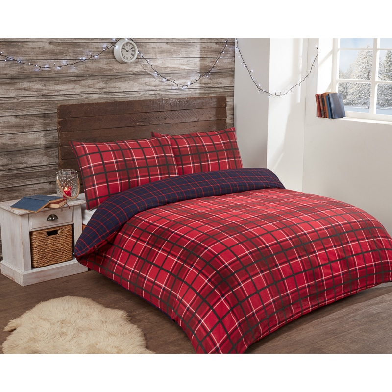 Check Brushed Cotton Duvet Set Single Bedding B Amp M