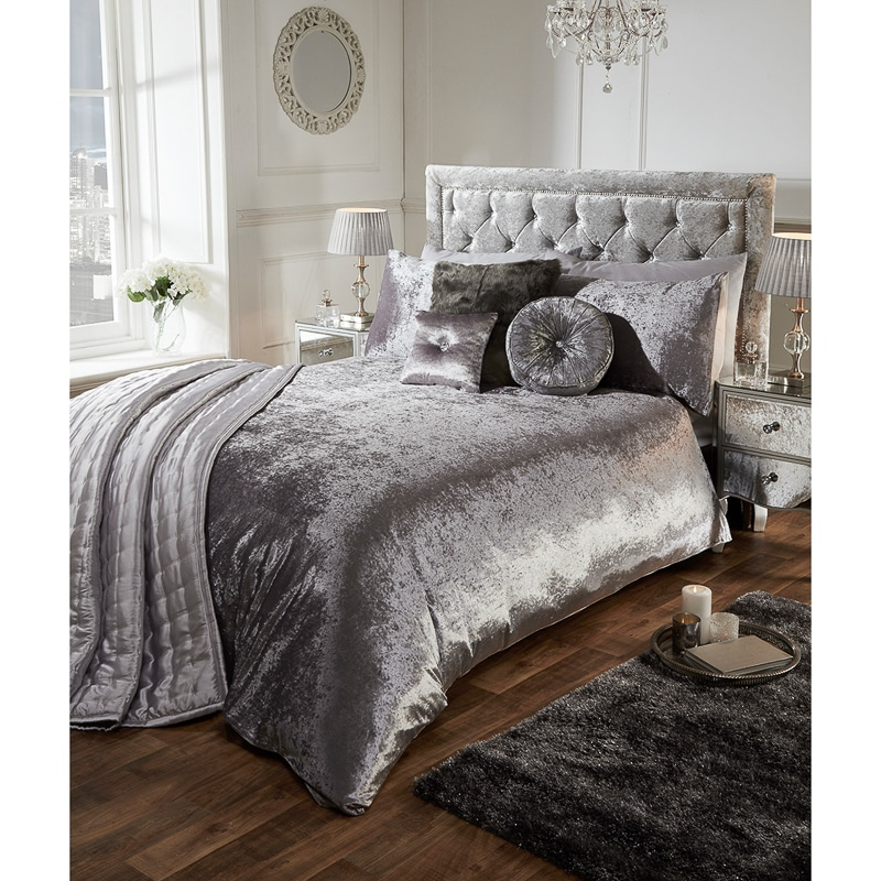 Versailles Full Velvet Face Silver Duvet Set - Double