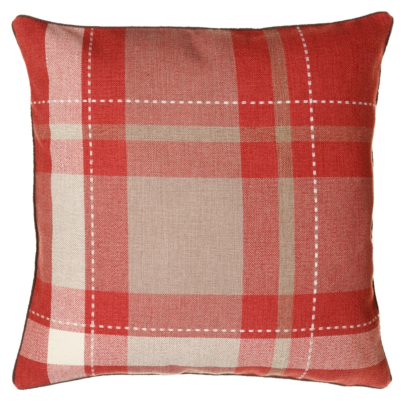 Tara Classic Woven Tartan Cushion Red Cushions B Amp M