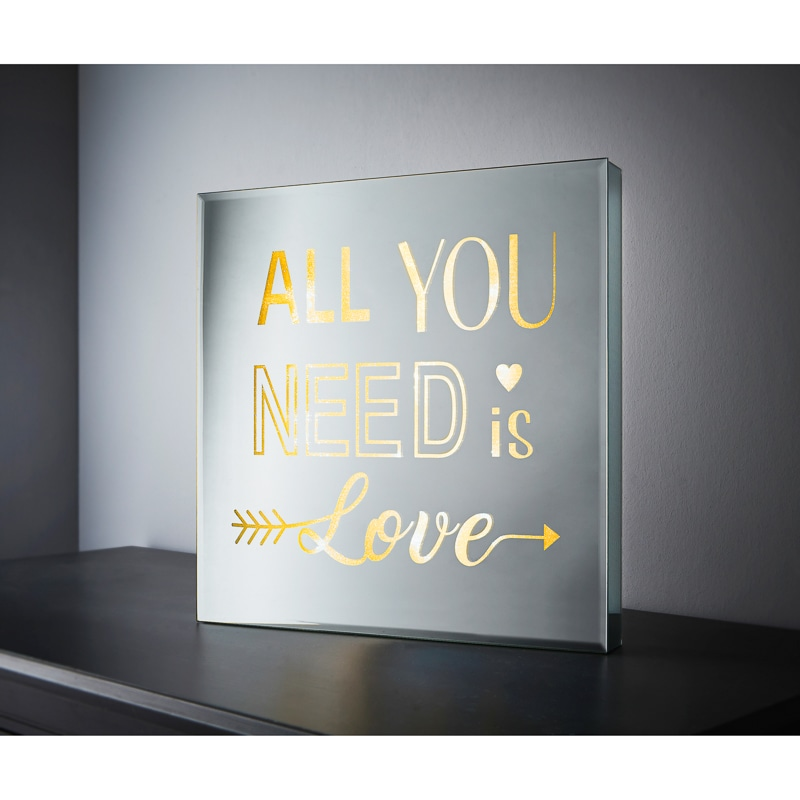 Square Mirror Led Slogan All You Need Is Love Lighting