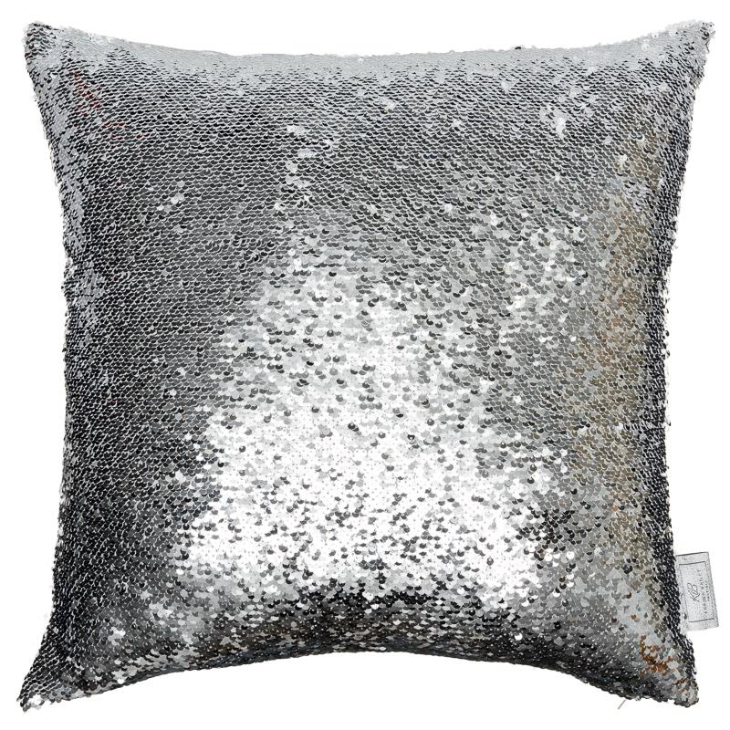reversible sequin cushion 48 x 48cm silver white cushions b m