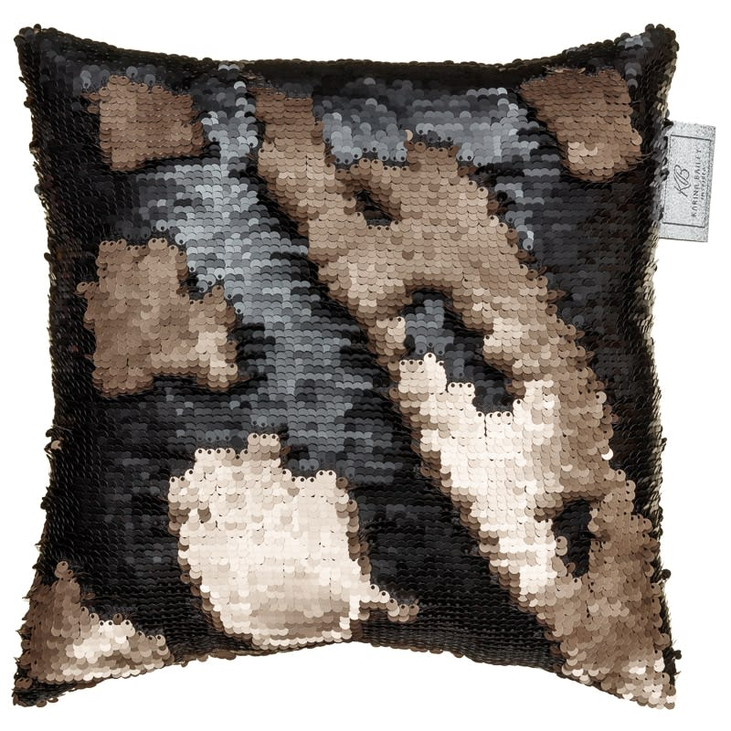 Reversible Sequin Cushion 30 X 30cm Gold Amp Black