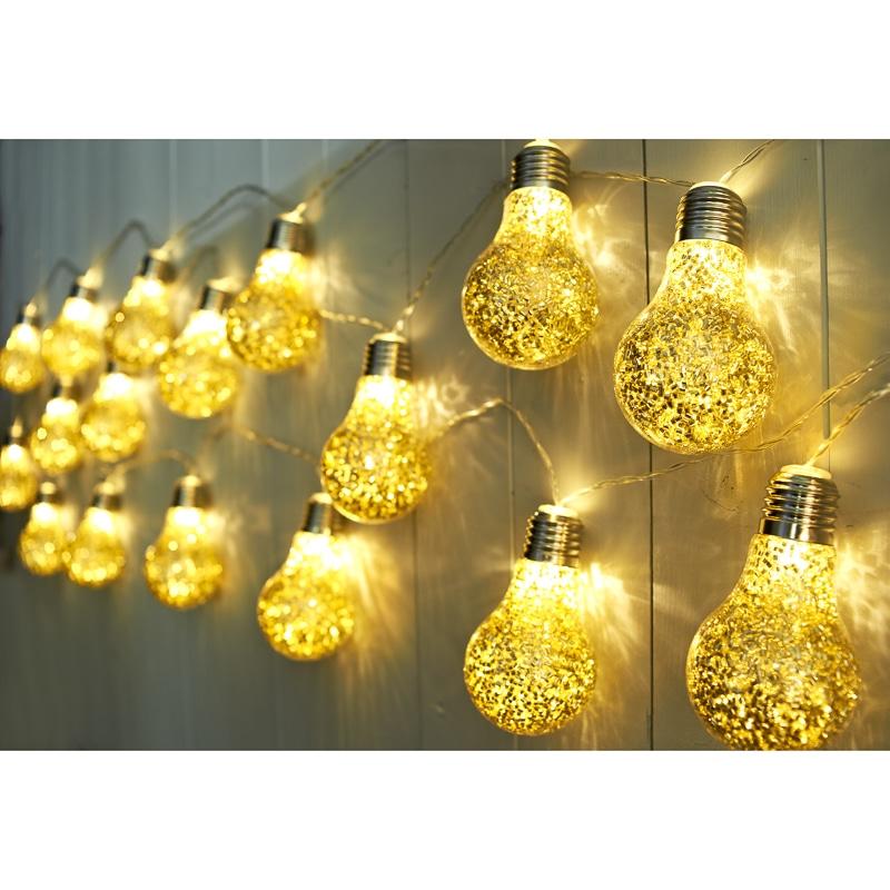 Glitter Bulb String Led Lights 20pc Gold Glitter