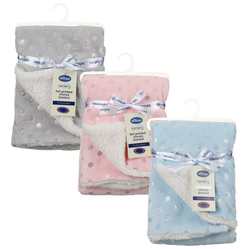 Silentnight Foil Printed Sherpa Baby Blanket Bedding B Amp M