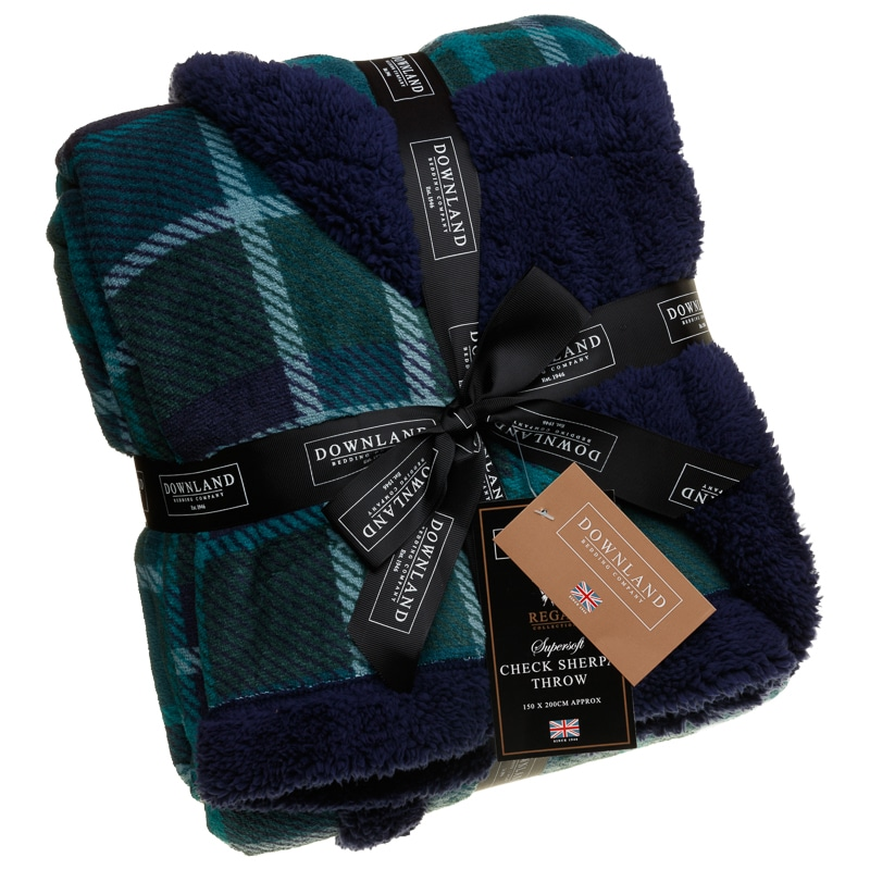 Check Sherpa Throw Navy Green Soft Furnishings