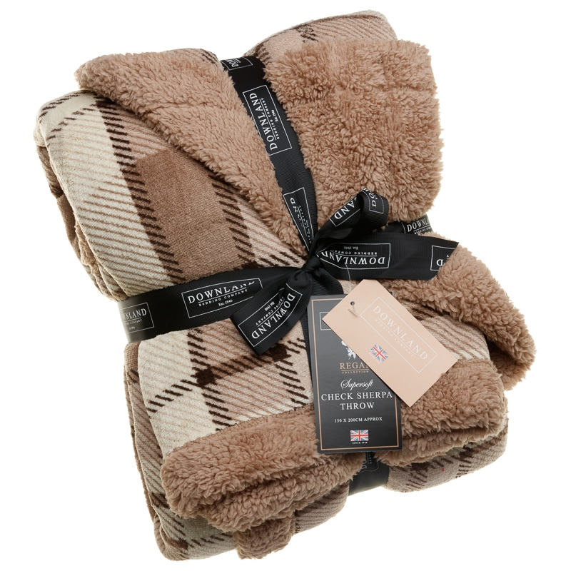 Check Sherpa Throw Natural Mink Soft Furnishings