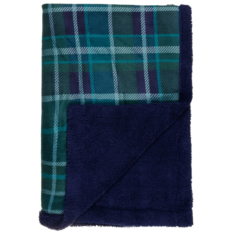 Check Sherpa Throw - Navy/Green